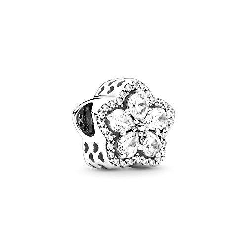 LaMenars Dije colgante de copo de nieve de plata para pulseras Pandora, cuentas de plata para mujer, collares para el cumpleaños del día de la madre de San Valentín