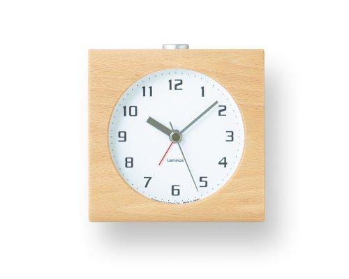 Lemnos Block weiß- japanischer Design-Wecker mit Licht und leisem Uhrwerk