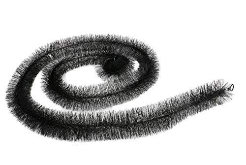 Dachrinnen-Schutzgitter, Dachrinnen-Schmutzfang, Dachrinnenbürste, Edelstahl-Strang mit robusten Kunststoffborsten, Rinnenraupe, schwarz, Größe (LxØ) ca. 4 m x 12 cm