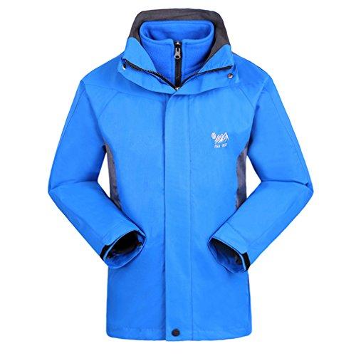 SHAMEI Homme 3 en 1 Veste Coupe-Vent Imperméable Respirant Outdoor Sport Camping Randonnée Escalade Manteau (XX-Large, Bleu Royal)