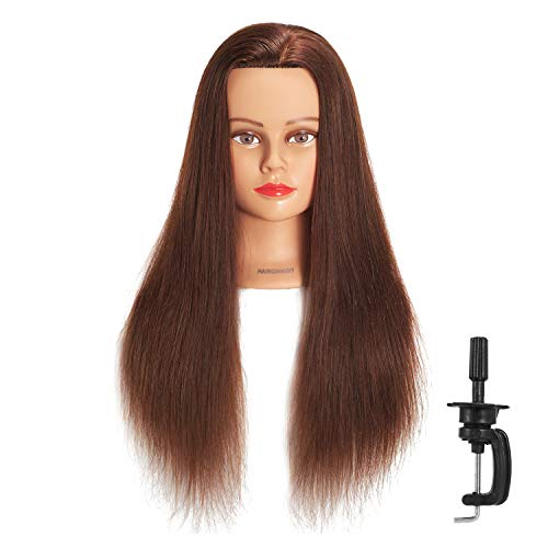 Hairginkgo Mannequin Head 24-26' 100% Human Hair Manikin Head Hairdresser Training Head Cosmetology Doll Head for Styling Dye Cutting Braiding Practice with Clamp Stand (91812W0418)