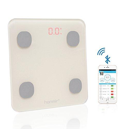 Báscula de Baño hanmir Báscula de Baño Digital con APP y bluetooth 4.0, 150 kg, multi-medición, Analizador Corporal, Peso, Índice de Masa, Grasa, Agua, Músculo, BMR y AMR - Blanca