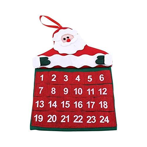 Calendario de Adviento de 24 días Calendario de Cuenta Regresiva de Navidad Calendario de Cuenta Regresiva para Colgar en la Pared de Santa