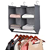 Hanging Closet Organizer, 4 Section Hanging Closet Organizer with Garment Rod, Collapsible Storage Shelves with 3 Metal Hooks (Grey)