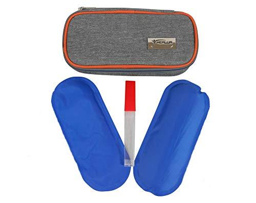 Insulin Kühltasche Von HEALUA-Diabetiker Tasche Diabetikertasche für Unterwegs Medikamenten Kühltasche Medikamententasche Reise mit 2 Kühlbeuteln, Thermometer & Behälter für Gebrauchte Insulin Nadeln