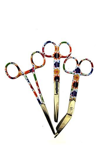 Juego de tres tijeras de vendaje y tijeras de enfermera con diseño de flores