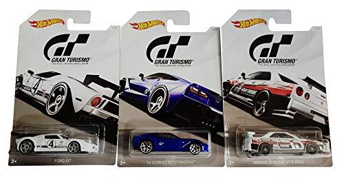 Mattel-Hot-Wheels Gran Turismo modelauto's, set van 3, Nissan Skyline GT-R (R34), `14 Corvette Stingray, Ford GT, voor kinderen en verzamelaars