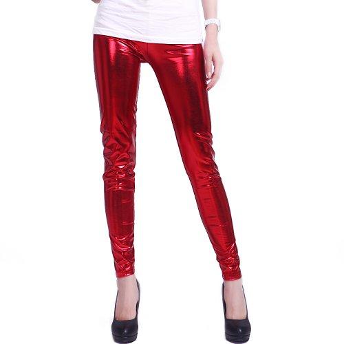 HDE - Leggings metálicos brillantes para mujer (aspecto mojado) -  Rojo -  X-Large