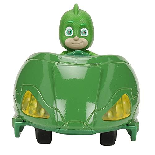 Dickie Toys PJ Masks Mission Racer Gekko, Die-Cast Fahrzeug mit Freilauf, Licht & Sound, spielt Titelmelodie aus der Serie, inkl. Gecko Figur, 12 cm, grün, inkl. Batterien