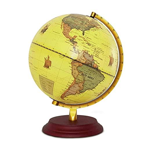SuRose Globos, Globo terráqueo para niños con Base de Madera, con Mapa Mundial detallado y Colorido, Etiquetas Coloridas y fáciles de Leer de continentes, países, Capitales y Maravillas Natura