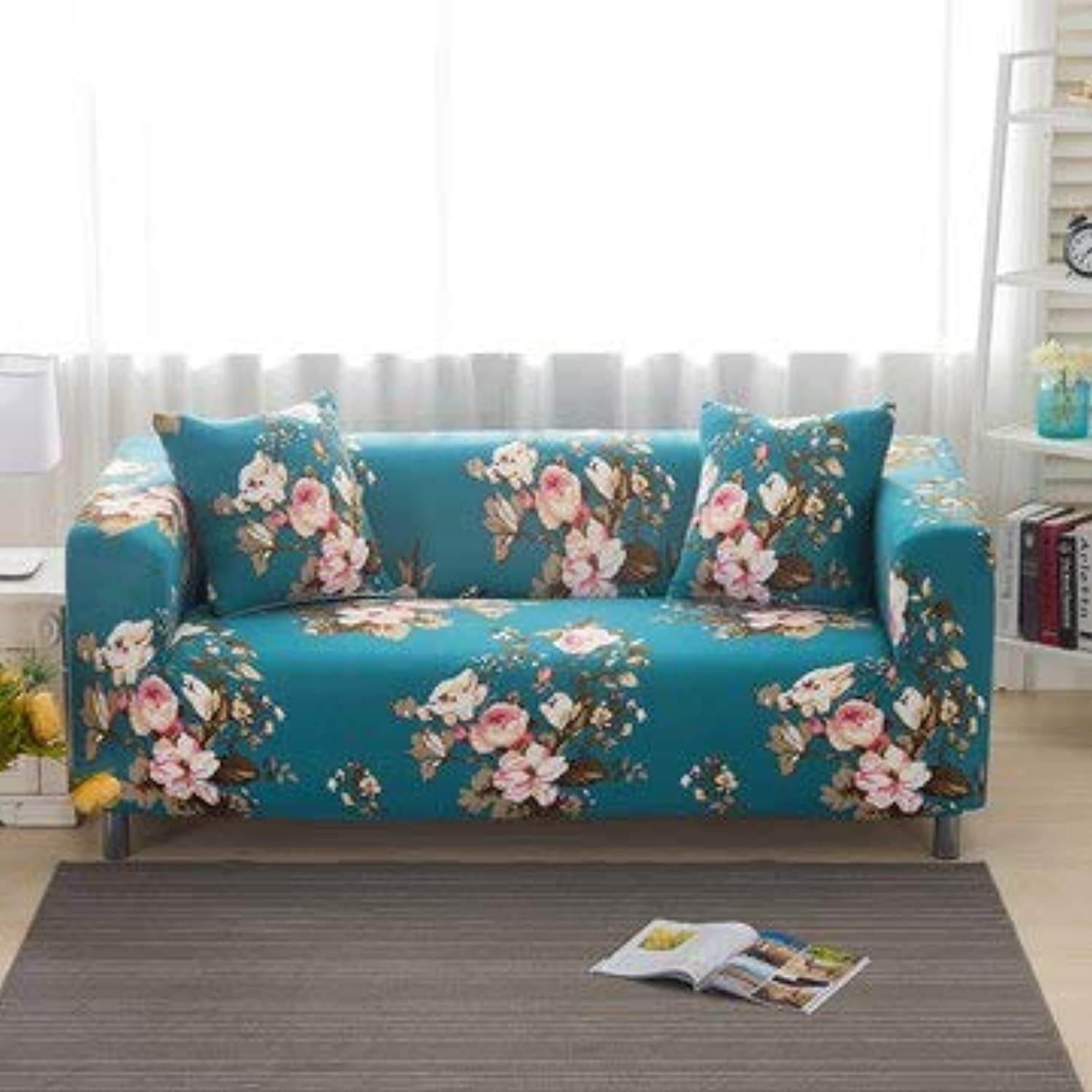 Farmerly Modern Geometric Floral Printing Spandex Stretch Elastic All-Inclusive Sofa Slip Cover Predector Removable Anti-Dirty Couch Case   20, Tow Seater