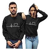 Berrywho Pareja Camiseta de Manga Larga suéter del Puente de la Camiseta de San Valentín Día Negro L Impreso
