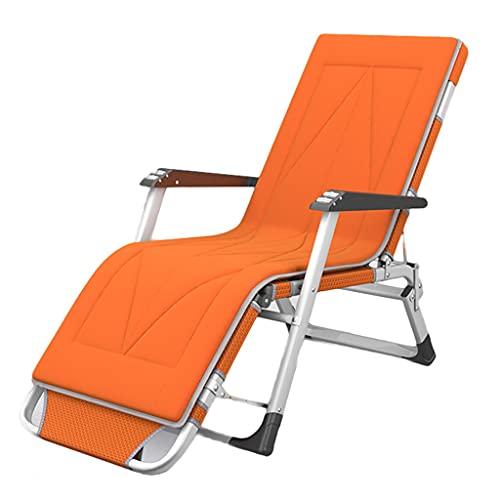 LITING Chaises Longues Silla De Cubierta Reclinable Plegable Cómodo Verano Trasero Balcón Casa Ocio Silla De Playa (Color : Orange)
