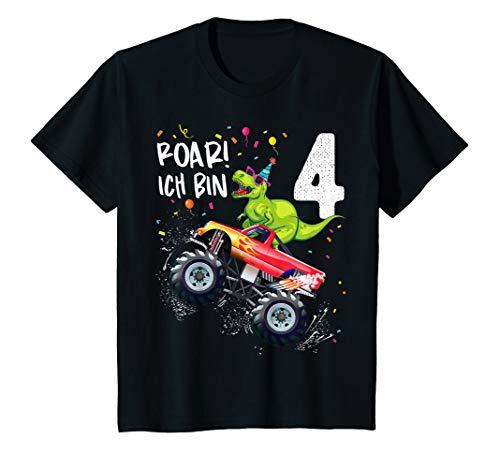 Kinder Geburtstag 4 Jahre Dinosaurier Monster Truck Jungen Mädchen T-Shirt