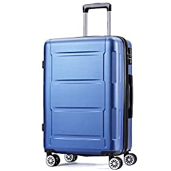 Flieks Hard Case Trolley Suitcase Travel Case with Combination Lock Hand luggage with 4 wheels, M (champagne, M)