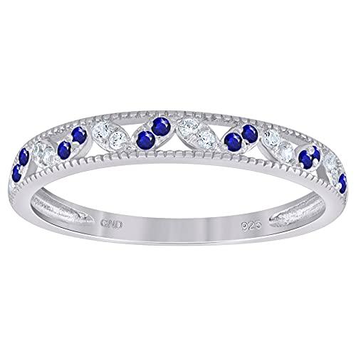 Anillo de plata de ley 925 para mujer, color blanco, azul real, circonita cúbica, diamante simulado, semieternidad, apilable, anillo de boda, joyería regalo para mujeres