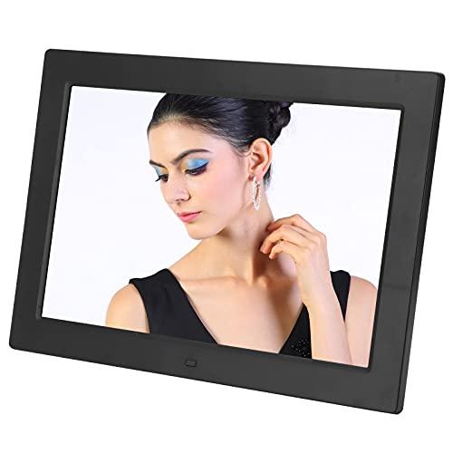 Marco de fotos digital, marco de fotos HD de 12 pulgadas y 1280x800, control de modo dual, compatible con reproducción de imágenes / MP3 / MP4, reloj, calendario, altavoz, USB y tarjeta SD(Negro)