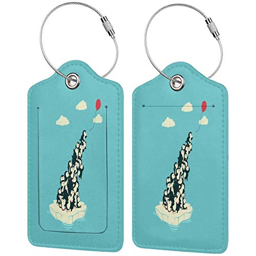 Lovely Penguins Play with Balloons Luggage Tags Leather Travel Suitcases Id Identifier Baggage Label Card Holder.