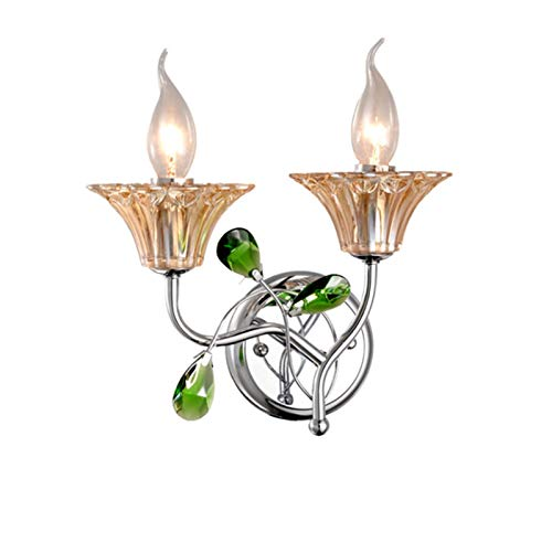 Lámpara de pared de cristal estilo europeo lámpara de pasillo de doble cabeza vela lámpara de pared habitación de noche lámpara de pared lámpara de pared luz