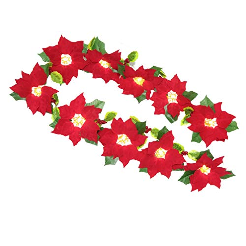 PRETYZOOM Illuminated Poinsettia Garland Christmas Artificial Poinsettia Flower Garland Wreath Tree Home Stairs Garden Decoration for Christmas Party Supplies