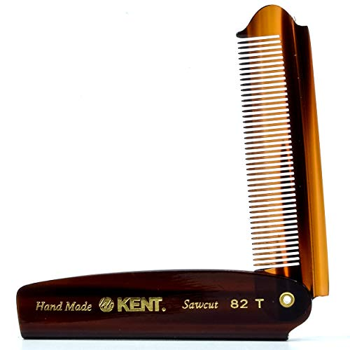 Kent 82T Handmade Fine Tooth Saw-Cut Folding Pocket Comb for Men - Travel Styling, Grooming, and Detangling for Hair, Beard, and Mustache