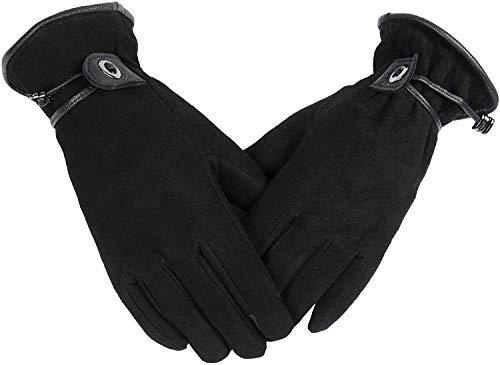 OZERO Damenhandschuhe,Thermo Winter Lederhandschuhe mit Warme Futter und Touchscreen-Fingerspitzen für Täglicher Gebrauch,Radfahren und Lauf,für Damen und Mädchen, Schwarz, S,Schwarz,S