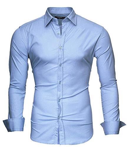 Kayhan Uni Camicia Slim Fit, Skyblue (S)