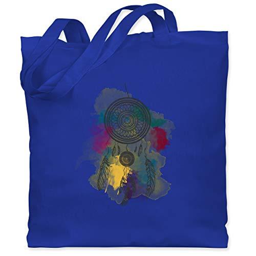 Shirtracer Statement - Traumfänger Wasserfarbe Dreamcatcher Watercolor - Unisize - Royalblau - Bunt - WM101 - Stoffbeutel aus Baumwolle Jutebeutel lange Henkel