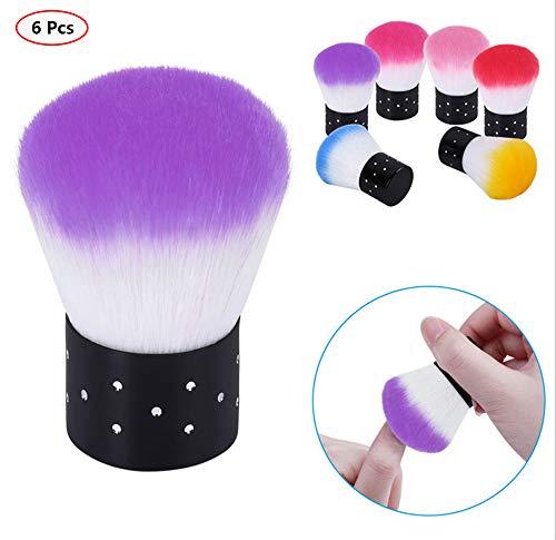 Benrise 6 bunte weiche Kabuki-Pinsel, Puderpinsel, Nagelkunst, Staubreiniger für Make-up oder...