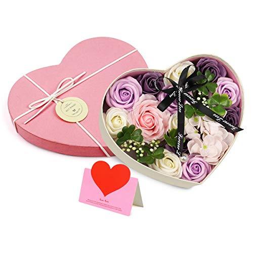 Unisoul Flor de jabón en Caja de Regalo, jabones perfumados de Rosa, Flores Artificiales, Ideal para decoración de Bodas en el hogar, Regalo de San Valentín, Regalos de cumpleaños creativos, Púrpura