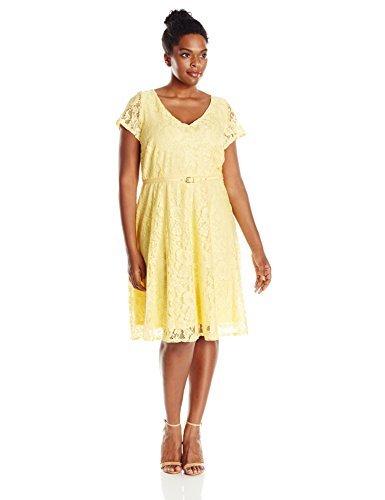 Julian Taylor Women's Plus Size Line All Over Lace Dress, Lemon/Lemon
