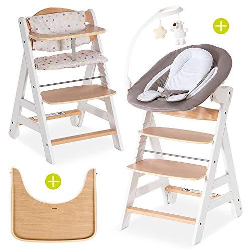 Hauck Beta Plus Newborn Set Deluxe - Baby Holz Hochstuhl ab Geburt mit Liegefunktion - inkl. Aufsatz für Neugeborene, Sitzpolster, Tisch - mitwachsend, verstellbar - Weiß Natur