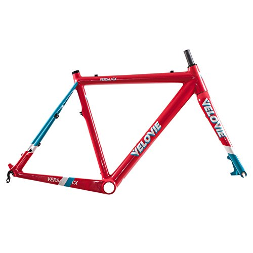 VeloVie Versa CX Cyclocross Carbon Bicycle Frame and Fork Set, 62cm/XX-Large, Red/Blue
