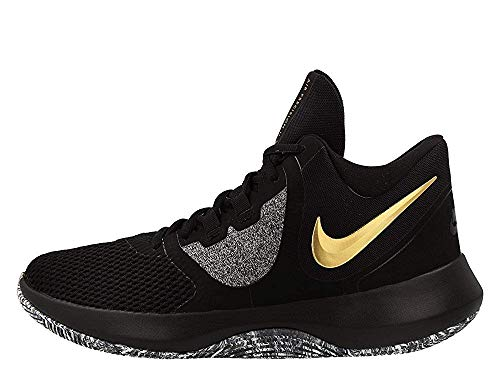 Nike Air Precision 2 Mens Basketball Shoes (9, Blk MTLC Gold Wht)