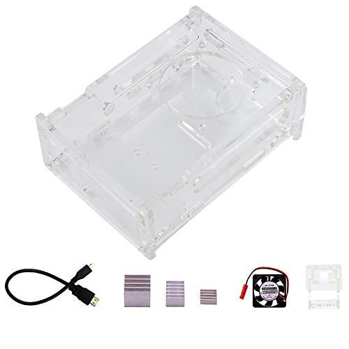 TOOGOO für Raspberry Pi 4B Acryl GEH?Use und Kamera Tasche, KüHlk?Rper, LüFter, Micro-HDMI zu HDMI Kabel Adapter Pi 4 B Zubeh?R Set
