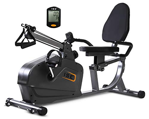 ISE SY-6910 - Bicicleta estática semialargada, con resistencia magnética de 8 niveles, asiento ajustable con respaldo y pantalla LCD, cuerda de tracción de polea, máximo 120 kg
