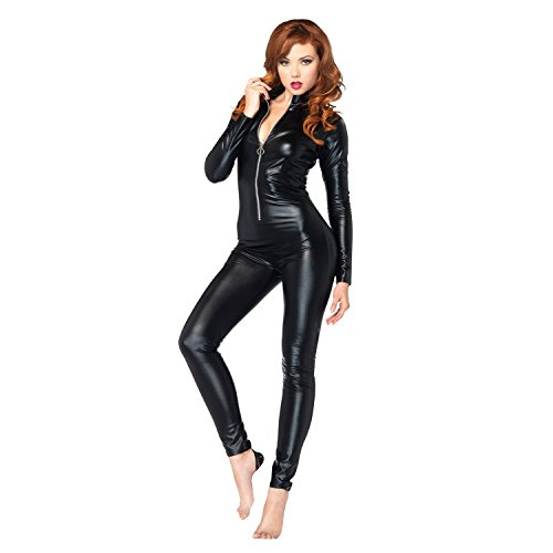 DISCOBALL Donna Costume Catwoman Women's Masquerade Suit with Front Zipper Cosplay,XXL