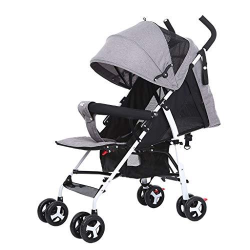 Cochecito de bebé cochecito de bebé puede sentarse y poner ligero y fácil de plegar bebé bebé bebé bebé puede dormir paraguas de malla de verano (Color: gris)