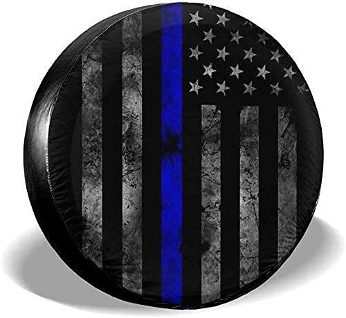 Lewiuzr Cubierta para Llantas Thin Blue Line Bandera Americana Protección Solar Impermeable Protección para Llantas de Repuesto Se Adapta a Ajuste Universal