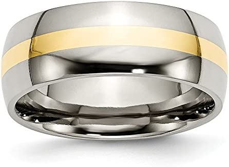 ICE CARATS Titanium 14k Yellow Inlay 8mm Wedding Ring Band Size 6 50 Precious Metal Fine Jewelry product image