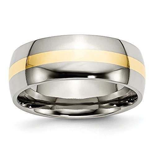 RoseCharm Beautiful Titanium 14k Yellow Inlay 8mm Polished Band