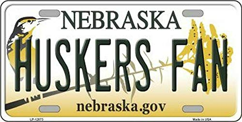 Inga New Sign huskers fan nebraska state background novelty license plate 6x12 inches License Plate Sign