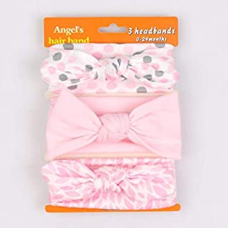 Baby Girl Pink Headbands and Bows Set of 3 Hair Accessories for Newborn Toddler Girls