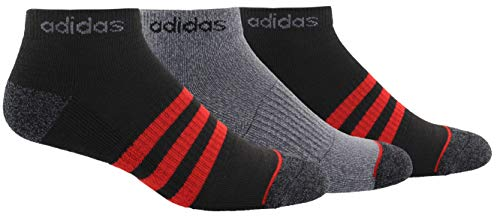 adidas Mens 3-Stripe Low Cut Socks (3-Pair), Black/Black - Onix Marl/Scarlet/Onix - Light Onix Marl, Large, (Shoe Size 6-12)