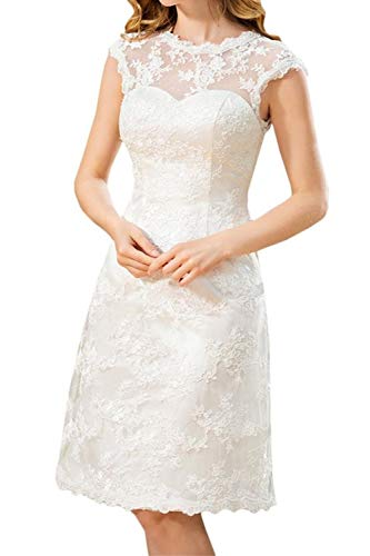 Cloverbridal Elegant Damen Kurz A Linie Weiß Spitze Vintage Hochgeschlossen Knielang Tiefer Rücken Hochzeitskleid Brautkleid