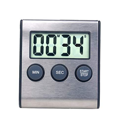 Digitaler Mini-Wecker für Küchengeräte, Zeitschaltuhr, 24-Stunden-Countdown-Timer für Kochen, Studium, Sport, Meeting, Parken, Medikamente Edelstahl schwarz