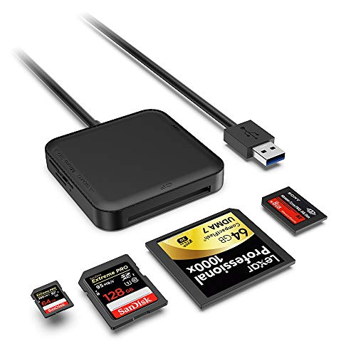 USB 3.0 Lector de Tarjeta, SenPuSi Múltiple Leer Simultáneamente 4 en 1 5Gbps, para Tarjetas CF/MS/Micro SD/SD/SDXC/SDHC Compatible con Windows Me/2000/8/7/XP