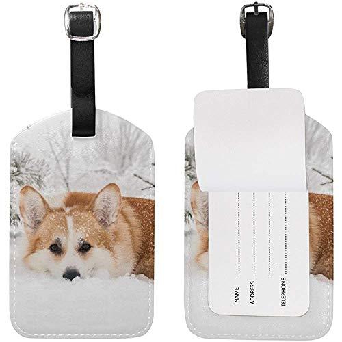 Waliser-Corgi-Hundewinter-Gepäckanhänger-PU-Leder-Taschen-Koffer-Gepäckanhänger
