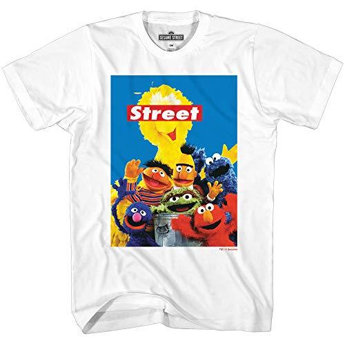 Sesame Street Group Oscar Elmo Cookie Big Bird Bert Ernie Grover Classic Vintage Retro Mens Adult T-Shirt (White, X-Large)