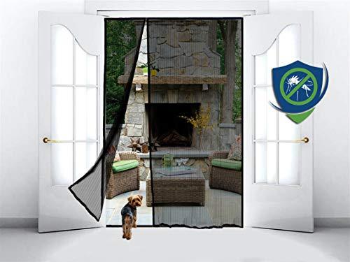 Magnetic Screen Door for French Door, Sliding Patio Door, Double Door - Covers The Entire Door Frame - Offset to One Side to Perfectly Match Your Door Opening - Black